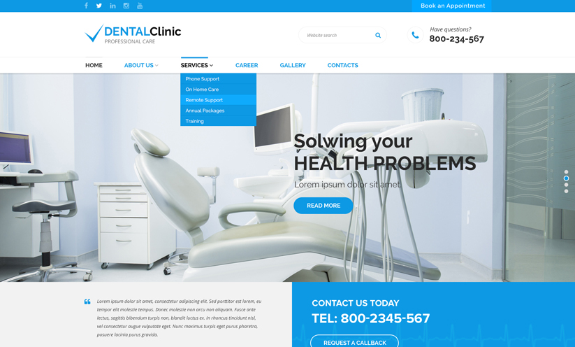 Health Center Bootstrap template ID:300111912 Slide 1