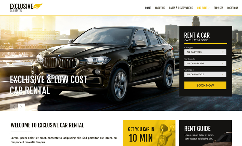 Ren a car template, car rental website template