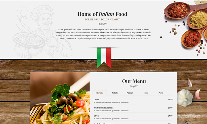 Italian Restaurant Wordpress template ID:300111921 Slide 1
