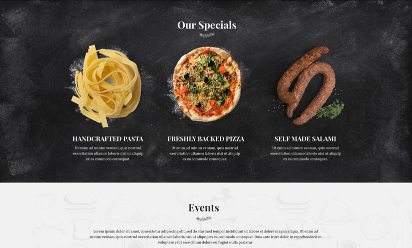 Italian Restaurant Wordpress template ID:300111921 Slide 3