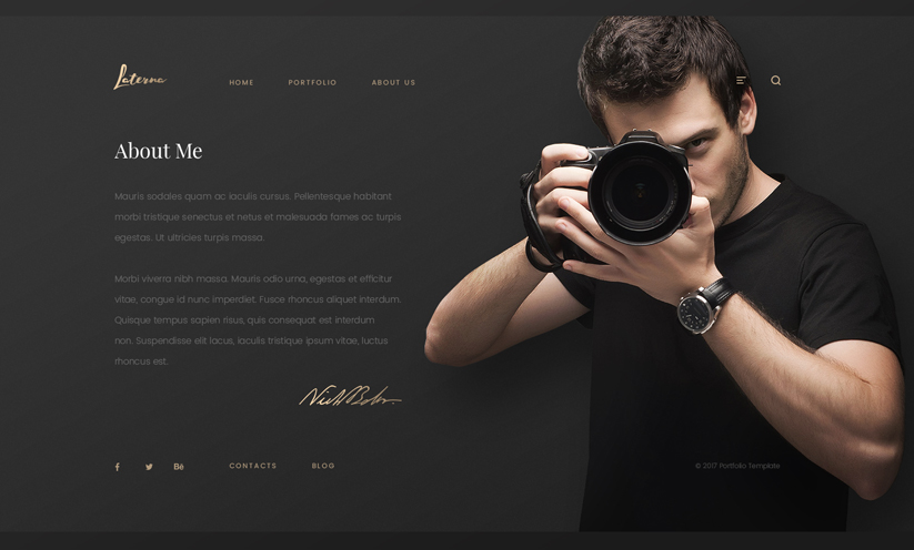 Photographer Bootstrap template ID:300111927 Slide 2
