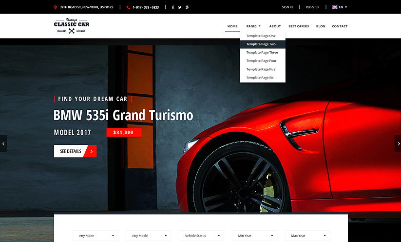 Car Marketplace Bootstrap template ID:300111928 Slide 1