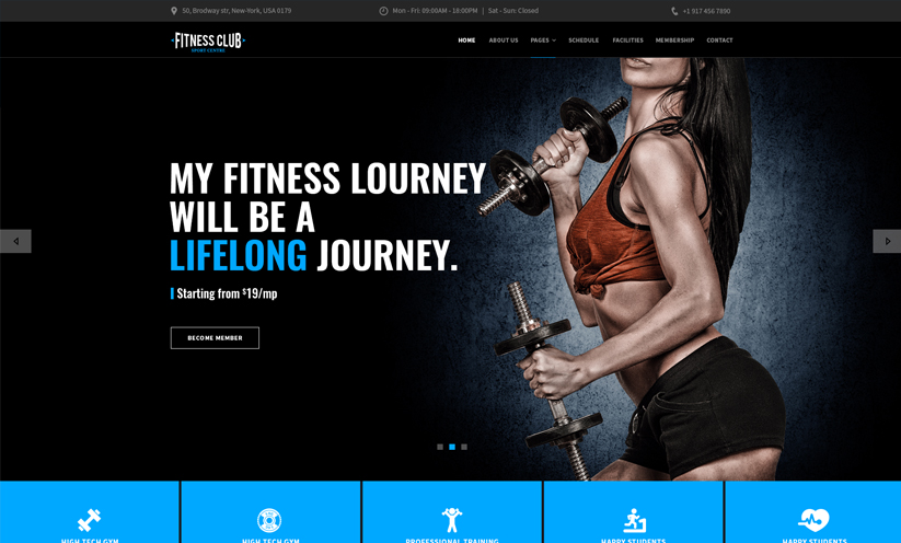 Fitness club Bootstrap template ID:300111931