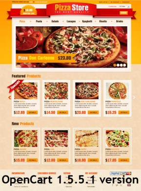 Pizza Store OpenCart template ID: 300111349