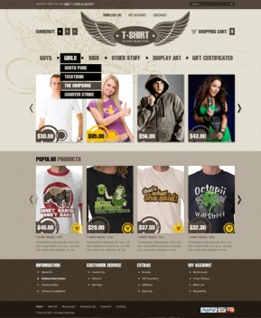T-shirts OpenCart template ID: 300111385