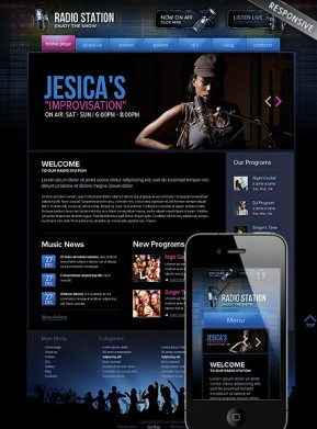 Radio Station Wordpress template ID: 300111505