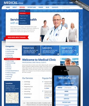 Medical Clinic Wordpress template ID: 300111551