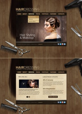Hair Dressing HTML5 template ID: 300111565