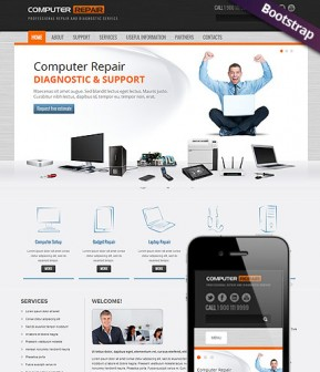 Computer repair Bootstrap template ID: 300111587