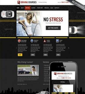 Driving school Wordpress template ID: 300111616