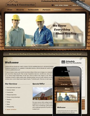 Roofing Wordpress template ID: 300111649