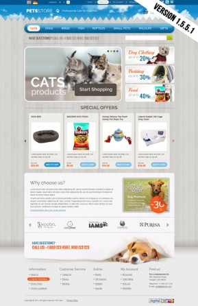 Pets Store OpenCart template ID: 300111651