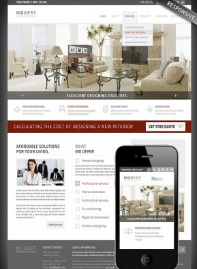 Interior Designing Wordpress template ID: 300111675