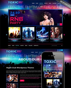 Night Club Wordpress template ID: 300111683