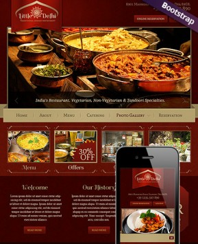 Indian Restaurant Wordpress Template ID From Bootstrap - Restaurant template wordpress