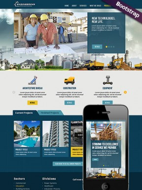 Civil Engeneering Bootstrap template ID: 300111707