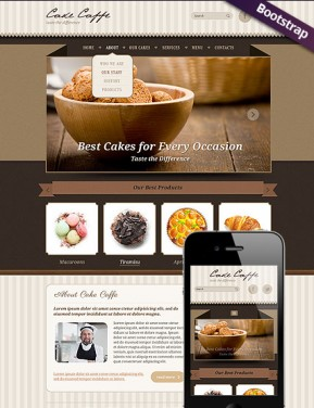 Cake Caffe Bootstrap template ID: 300111719