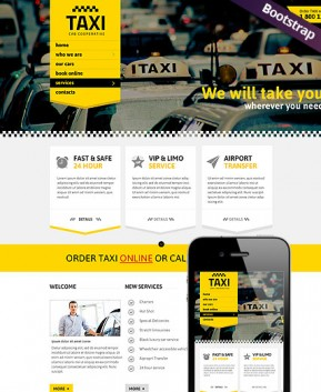 Taxi Service Bootstrap template ID: 300111747