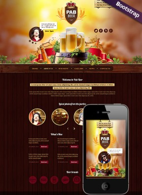 Beer Pub Bootstrap template ID: 300111762
