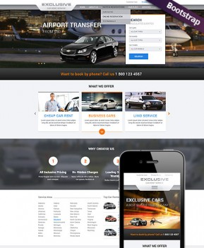 Rent a Car Bootstrap template ID: 300111767