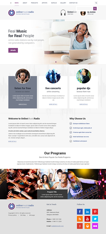 Radio Online Bootstrap template ID: 300111781