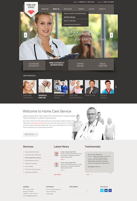 Home care service Bootstrap template ID: 300111784