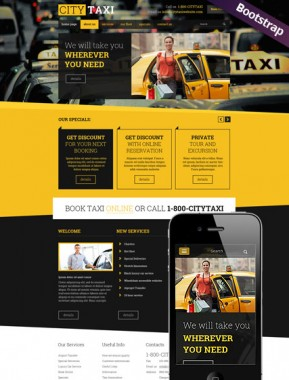Taxi Service Bootstrap template ID: 300111789
