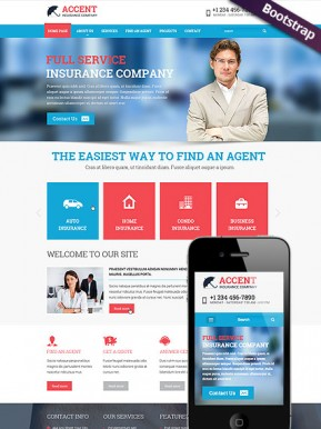Insurance company Bootstrap template ID: 300111791