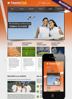Tennis Club Bootstrap template ID: 300111799