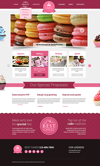 Cake shop Bootstrap template ID: 300111804