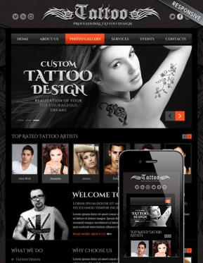 Tattoo design Bootstrap template ID: 300111805