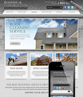 Roofing and Construction Bootstrap template ID: 300111807