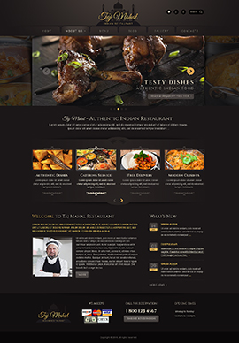 Indian restaurant Wordpress template ID: 300111813