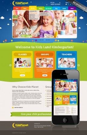 Kids Planet Wordpress template ID: 300111821