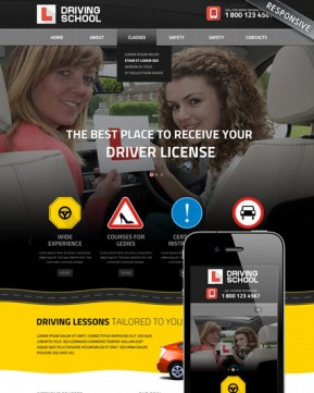 Driving School Bootstrap template ID: 300111822