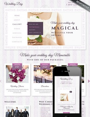 Wedding Bootstrap template ID: 300111824