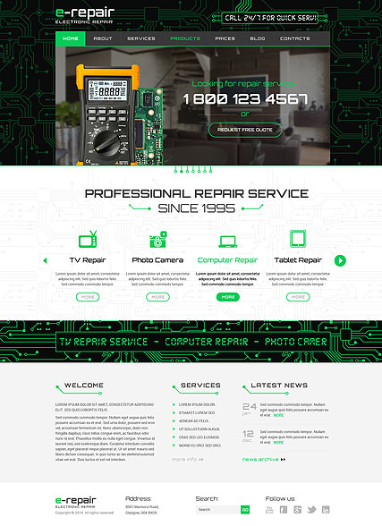 electronic repair Wordpress template ID: 300111829