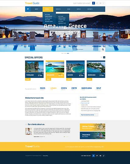 Travel Guide Wordpress template ID: 300111835