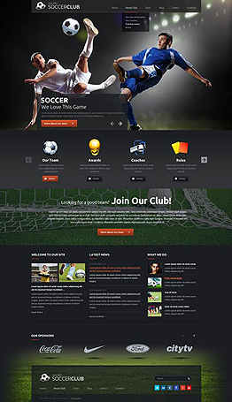 Soccer club Wordpress template ID: 300111840