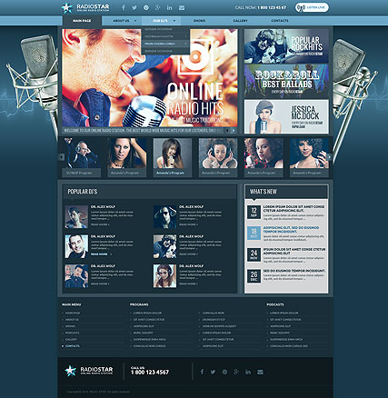 Radio Station Bootstrap Template Id 300111842