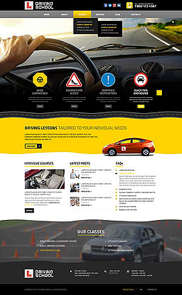 Driving school Wordpress template ID: 300111848