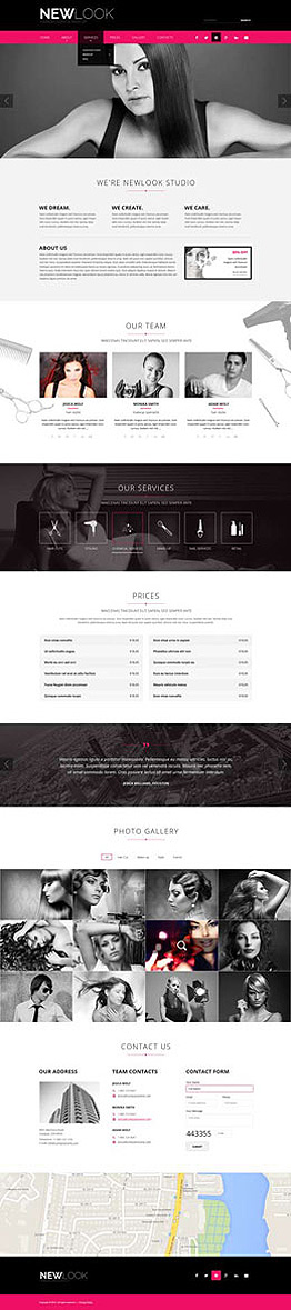 Hairdressing Bootstrap template ID: 300111850