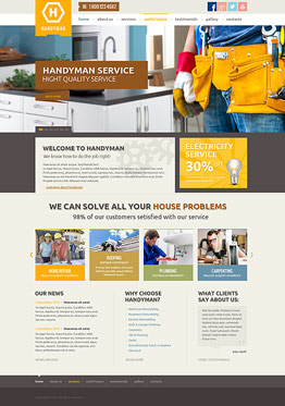 Handyman service Wordpress template ID: 300111858