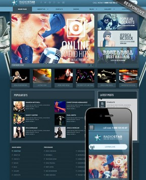Radio Star Wordpress template ID: 300111864