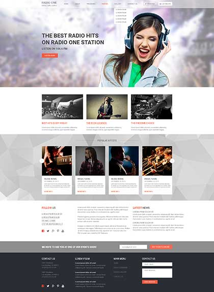Radio One Wordpress template ID: 300111894