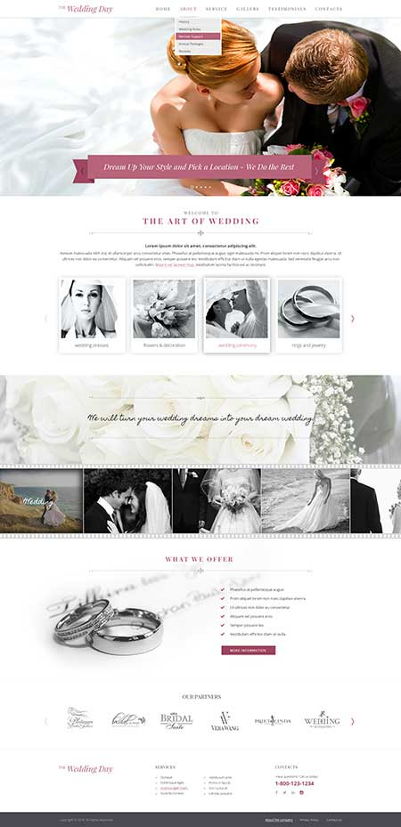 Wedding day Bootstrap template ID: 300111911