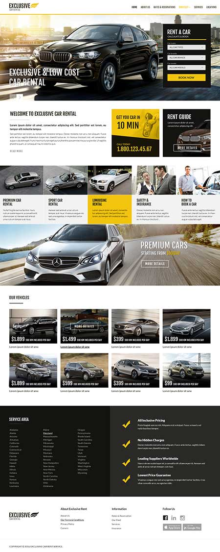 Rent a car Bootstrap template ID: 300111914