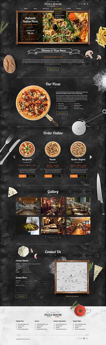 Pizza House Bootstrap template ID: 300111917