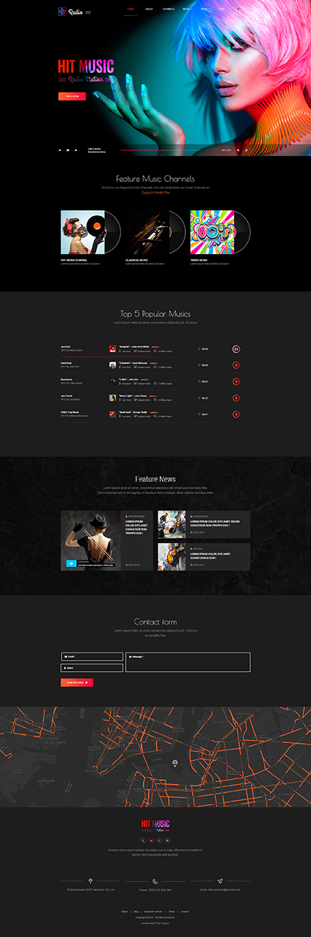Hot radio WordPress Wordpress template ID: 300111949