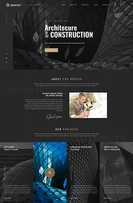 Architecture Bureau Wordpress template ID: 300111950